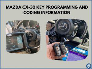 Automotive locksmith programming a Mazda CX-30 key on-site