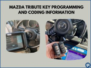 Automotive locksmith programming a Mazda Tribute key on-site