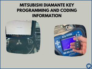 Automotive locksmith programming a Mitsubishi Diamante key on-site