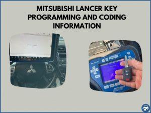 Automotive locksmith programming a Mitsubishi Lancer key on-site