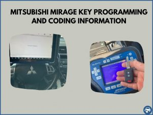 Automotive locksmith programming a Mitsubishi Mirage key on-site