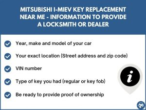 Mitsubishi i-MiEV key replacement service near your location - Tips