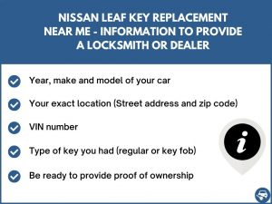 Nissan Leaf key replacement service near your location - Tips