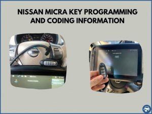 Automotive locksmith programming a Nissan Micra key on-site
