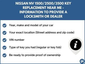 Nissan NV 1500/2500/3500 key replacement service near your location - Tips