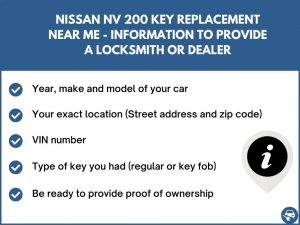 Nissan NV 200 key replacement service near your location - Tips