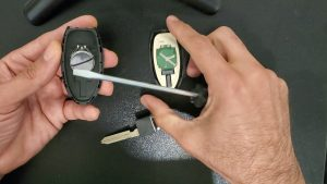 Inside look of Nissan key fob battery replacement