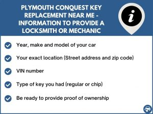 Plymouth Conquest key replacement service near your location - Tips