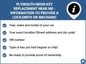 Plymouth Neon key replacement service near your location - Tips