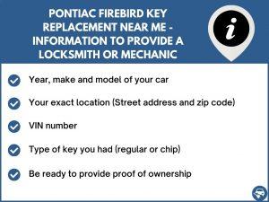 Pontiac Firebird key replacement service near your location - Tips
