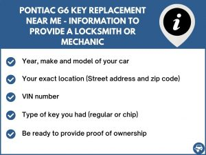 Pontiac G6 key replacement service near your location - Tips