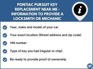 Pontiac Pursuit key replacement service near your location - Tips