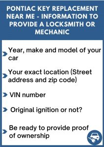 Pontiac key replacement near me - Relevant information