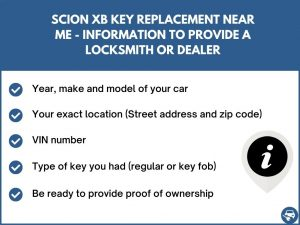 Scion xB key replacement service near your location - Tips