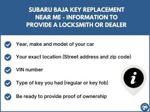 Subaru Baja key replacement service near your location - Tips
