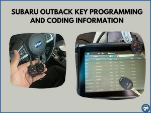 Automotive locksmith programming a Subaru Outback key on-site