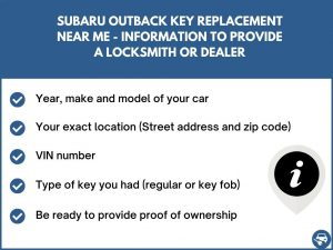 Subaru Outback key replacement service near your location - Tips