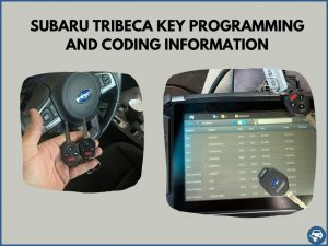 Automotive locksmith programming a Subaru Tribeca key on-site