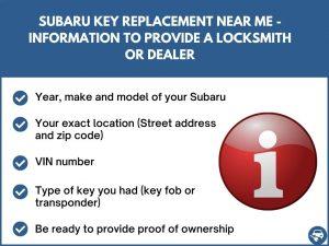 Subaru key replacement near me - Relevant information