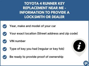 Toyota 4 Runner key replacement service near your location - Tips