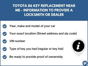 Toyota 86 key replacement service near your location - Tips