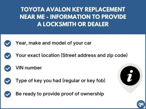 Toyota Avalon key replacement service near your location - Tips