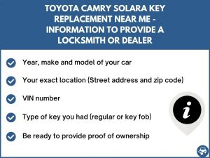 Toyota Camry Solara key replacement service near your location - Tips