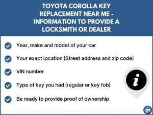 Toyota Corolla key replacement service near your location - Tips