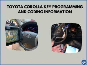 Automotive locksmith programming a Toyota Corolla key on-site