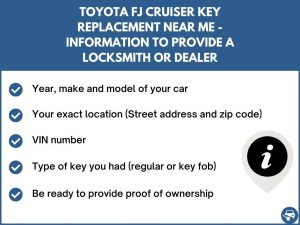Toyota FJ Cruiser key replacement service near your location - Tips