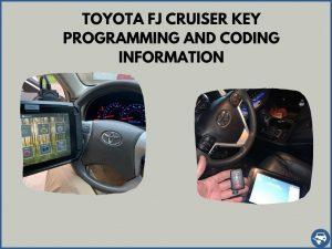 Automotive locksmith programming a Toyota FJ Cruiser key on-site