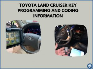 Automotive locksmith programming a Toyota Land Cruiser key on-site