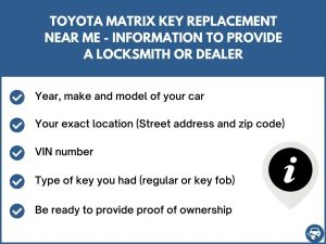 Toyota Matrix key replacement service near your location - Tips