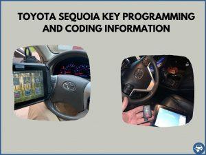 Automotive locksmith programming a Toyota Sequoia key on-site
