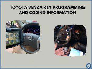 Automotive locksmith programming a Toyota Venza key on-site