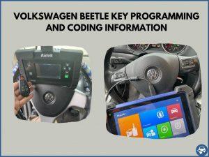 Automotive locksmith programming a Volkswagen Beetle key on-site