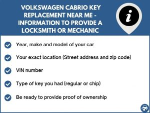 Volkswagen Cabrio key replacement service near your location - Tips