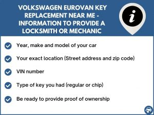 Volkswagen EuroVan key replacement service near your location - Tips