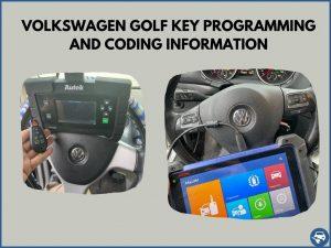 Automotive locksmith programming a Volkswagen Golf key on-site