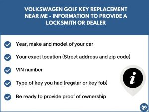 Volkswagen Golf key replacement service near your location - Tips