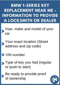 BMW 1-Series key replacement service near your location - Tips