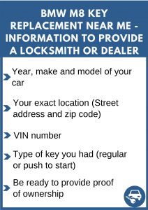 BMW M8 key replacement service near your location - Tips