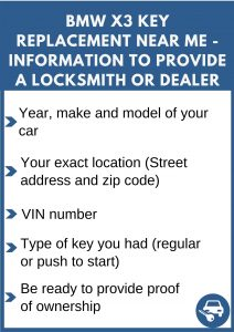 BMW X3 key replacement service near your location - Tips