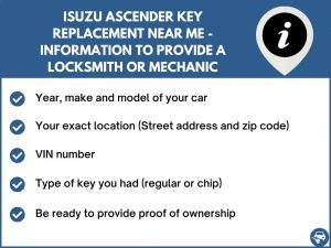 Isuzu Ascender key replacement service near your location - Tips