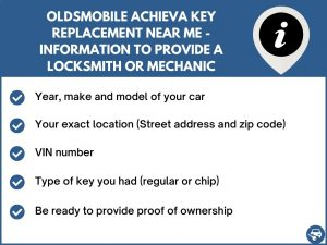 Oldsmobile Achieva key replacement service near your location - Tips